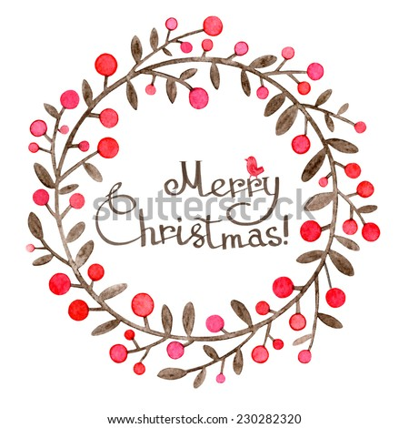 Christmas greeting card with wreath of holly on white background. Christmas holly wreath illustration. Christmas berries wreath illustration. Adorable watercolor illustration of Christmas wreath. - stock photo