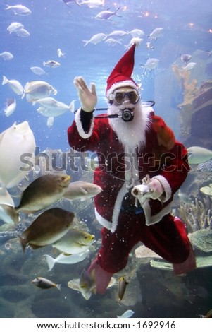Christmas greeting from Santa Clause diver. (note: image is slightly grainy due to low light condition.) - stock photo