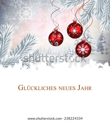 Christmas greeting in german against digital hanging christmas bauble decoration - stock photo
