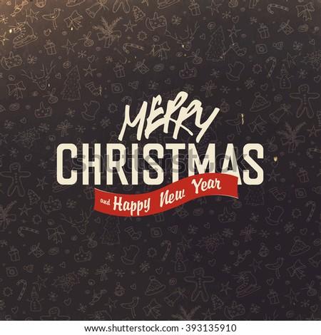 Christmas greeting on hand drawn background. Retro Merry Christmas Card Design. Raster version. - stock photo