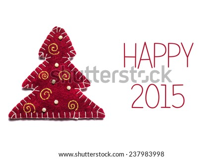 Christmas greetings card with red tree and text Happy holidays 2015 on a white background