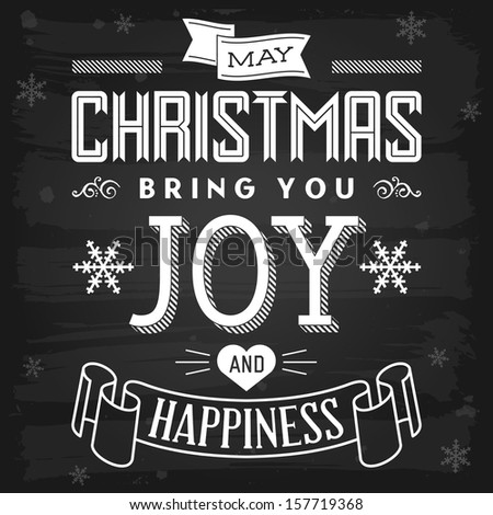 Christmas greetings chalkboard. Raster version. - stock photo
