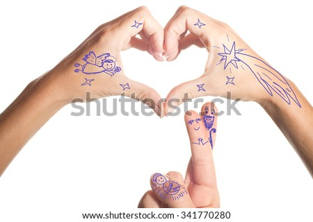 Christmas greetings, Nativity scene  simple drawing in the fingers and hands isolated on white background - stock photo