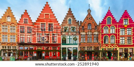 Christmas Grote Markt square in the beautiful medieval city Brugge at morning, Belgium. - stock photo