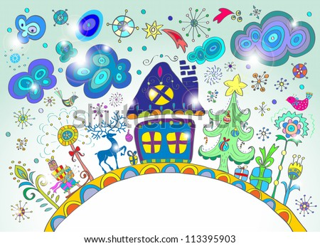Christmas hand drawn background with place for text, cute illustration