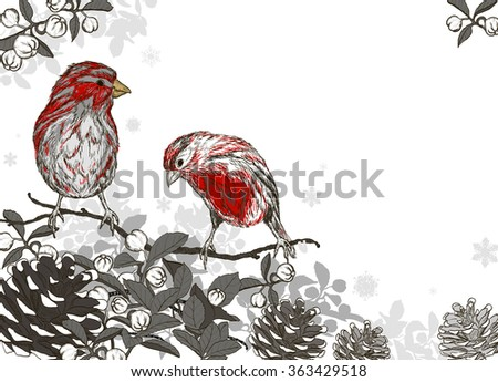 Christmas hand drawn background with winter birds. Raster version  - stock photo
