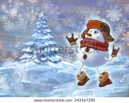 Christmas hand drawn illustration of a funny snowman in warm hat, mittens and scarf on the background of winter landscape with spruce - stock photo