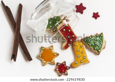Christmas handmade cookies on white background