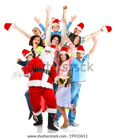 Christmas, happy funny people and Santa. Over white background - stock photo