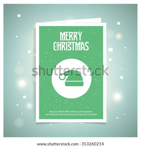 Christmas Hat. Christmas book cover or flyer template, vector background - stock photo