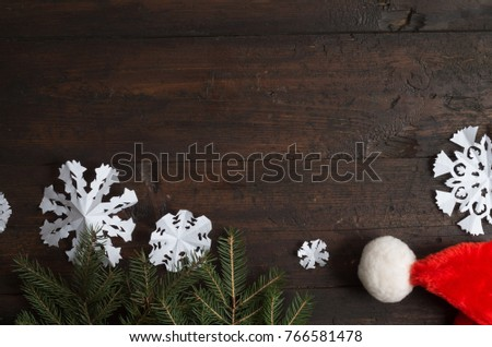 christmas hat on wood plank background