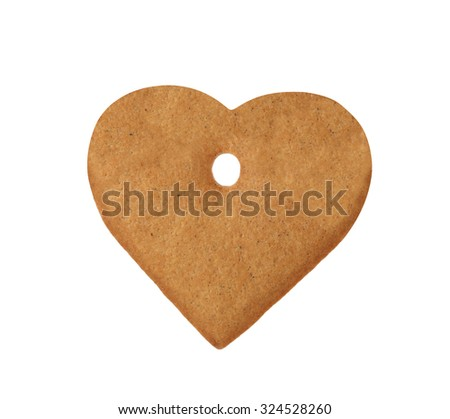 christmas heart cookie isolated on a white background - stock photo