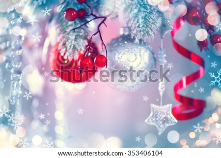 Christmas Holiday Background, Hanging baubles on Christmas tree, New Year backdrop, Decoration. Abstract Silver Blurred Bokeh, Blinking Garland. Christmas Tree decorated, Lights Twinkling. - stock photo