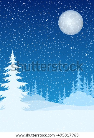 Christmas Holiday Background, Winter Woodland Landscape, Night Forest, Fir Trees and Bushes Silhouettes, Blue Sky with Moon and Snow
