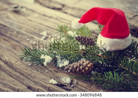 Christmas holiday background with Santa hat . - stock photo