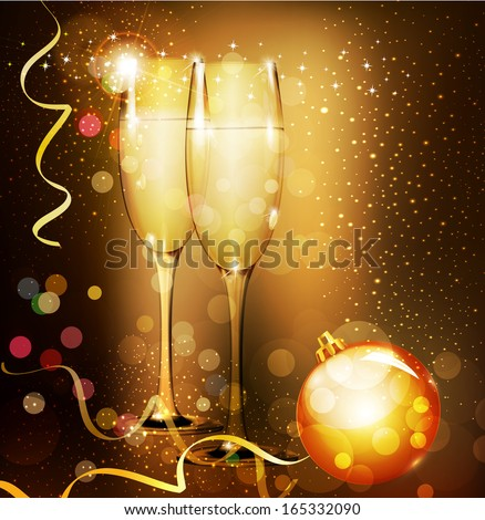 Christmas holiday background with two glasses of champagne - stock photo