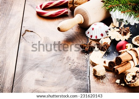 Christmas holiday baking setting with rolling pin and spices