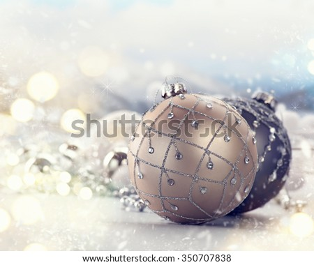 Christmas holiday Baubles, beautiful Christmas and New Year Decoration closeup.  - stock photo