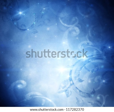 Christmas Holiday Blue Vintage Abstract Background - stock photo