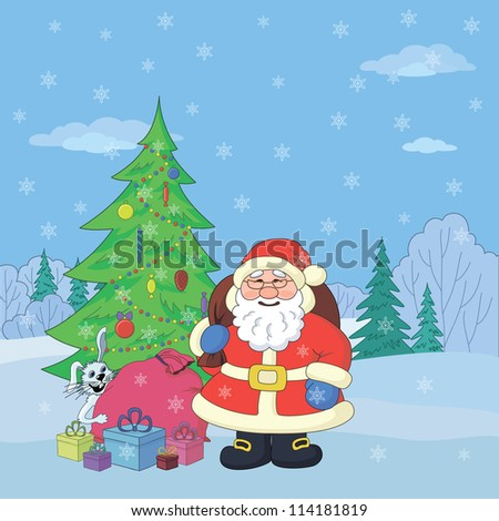 Christmas holiday cartoon: Santa Claus with gifts and a rabbit in the winter forest
