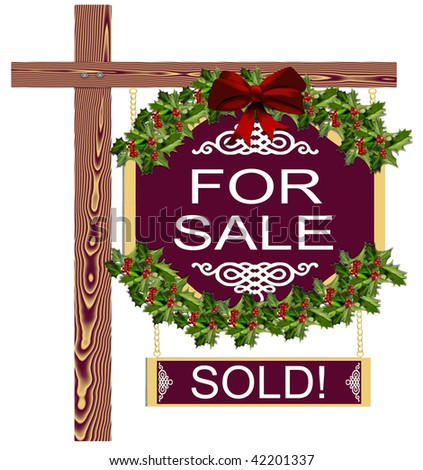 Christmas Holiday Decorated Real Estate For Sale Sold Sign - stock photo