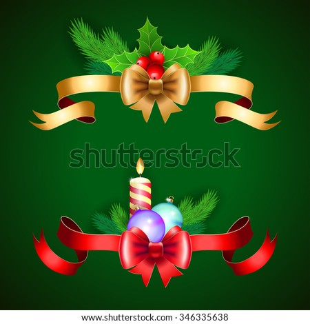 Christmas holiday decoration with red and gold ribbons.   Illustration for Christmas posters, Christmas greeting cards, Christmas print and web projects. Raster version - stock photo