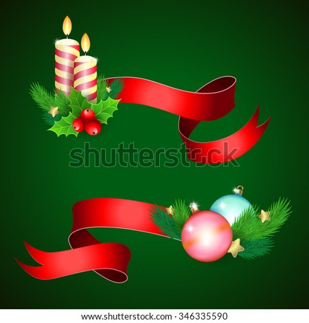 Christmas holiday decoration with red ribbons.   Illustration for Christmas posters, Christmas greeting cards, Christmas print and web projects. Raster version - stock photo