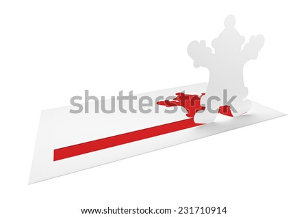 Christmas holiday letter of congratulations with paper Santa Claus figure and blank copy-space on white background - stock photo