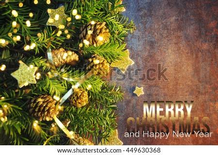 Christmas holiday lights background - stock photo