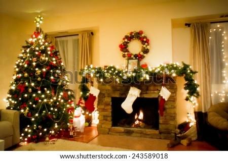 Christmas holiday living room with christmas tree and fireplace  - stock photo