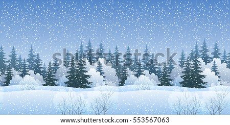 Christmas Holiday Seamless Horizontal Background, Winter Landscape, Fir Trees Silhouettes, Bushes and White Snow.
