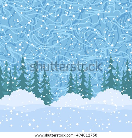 Christmas Holiday Seamless Horizontal Background, Winter Landscape, Green Fir Trees Silhouettes, Bushes and Blue Sky with White Snow and Abstract Pattern.