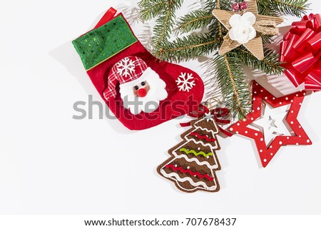 Christmas holidays composition on white background with copy space for your text.
