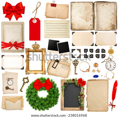 christmas holidays scrapbooking elements. photo frames and corners, old book pages, paper sheets, postcards  isolated on white background - stock photo