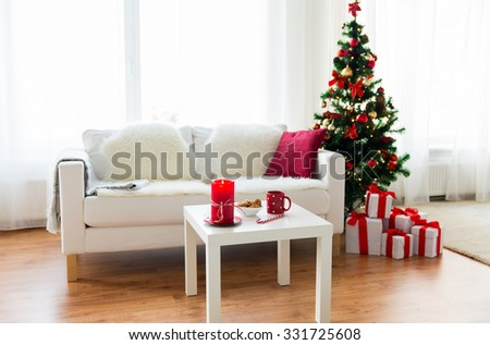 Christmas, Holidays, Winter, Home And Still Life Concept   Living Room  Interior With Part 95