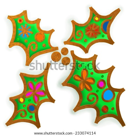 Christmas Holly Paint Doodle - stock photo