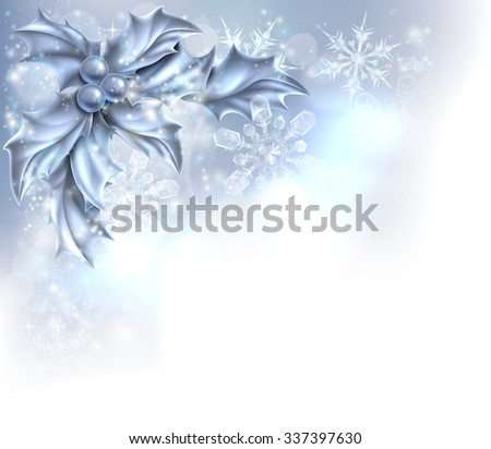 Christmas Holly silver abstract Christmas corner frame background. Fades to white at the bottom and side for easy use as border corner frame design or header.  - stock photo