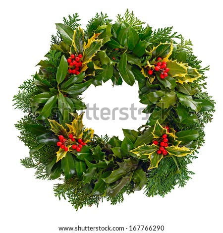 Christmas holly wreath isolated on a white background. - stock photo