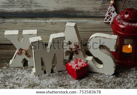 Christmas home decoration. Christmas still life decoration with wooden background