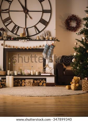Christmas Home Interior with Nobody - stock photo