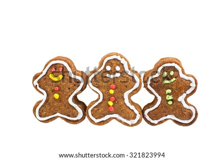 Christmas homemade cookies on a white background