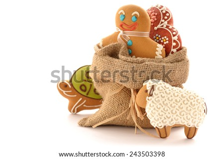 Christmas homemade gingerbread cookies - stock photo