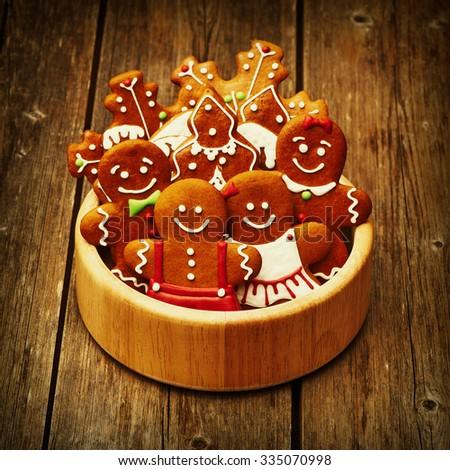 Christmas homemade gingerbread cookies on table - stock photo