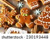Christmas homemade gingerbread cookies on wooden table - stock photo