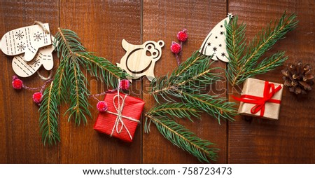 Christmas Homemade Wooden Decoration Gift Green Stock Photo (Royalty ...