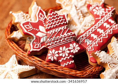 Christmas honey cookies on wooden table in the basket