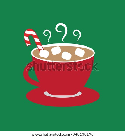 Christmas Hot Chocolate with Marshmallows - stock photo