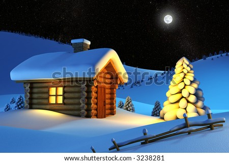 christmas house and fir-tree in snow-drift mountain landscape - stock photo