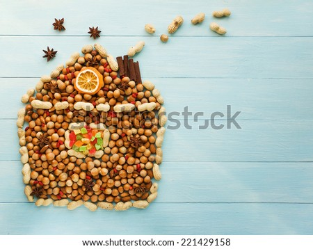 Christmas house made of nuts, berries and anise. Viewed from above. - stock photo