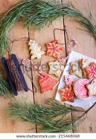 Christmas iced biscuits, selective focus - stock photo